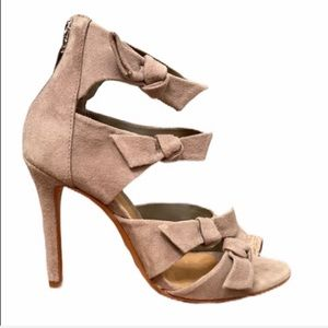 Schutz nude suede leather strappy bow heel sandal